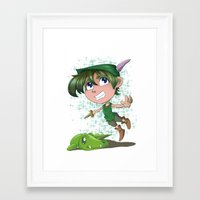 peter pan Framed Art Prints featuring Peter Pan by EY Cartoons
