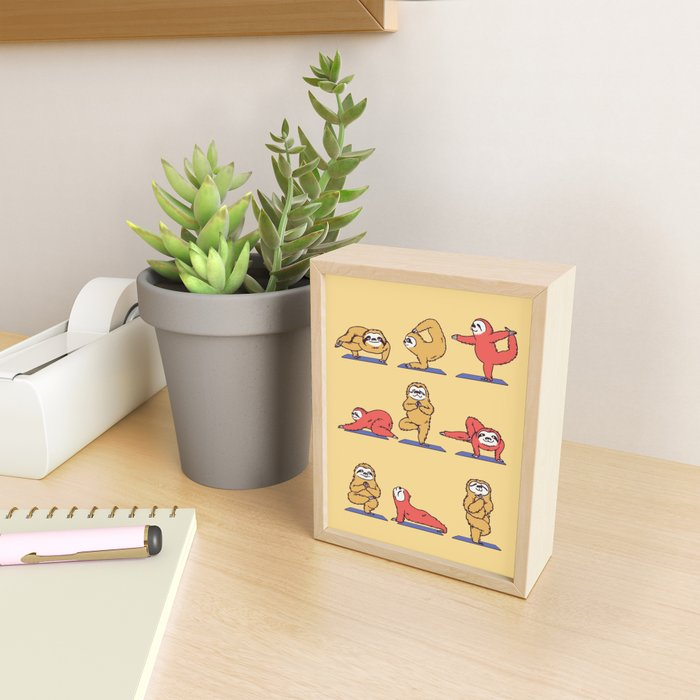 Sloth Yoga Framed Mini Art Print