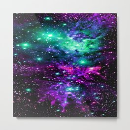 Fox Fur Nebula Teal Fuchsia Purple Blue  Metal Print