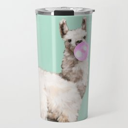 Baby Llama Blowing Bubble Gum Travel Mug