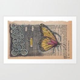 Book Page Art: Illuminated Butterfly Art Print