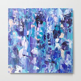 Modern blue acrylic abstract painting brushstrokes Metal Print