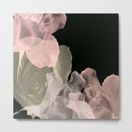 Blush Abstract Roses on Blackground Metal Print