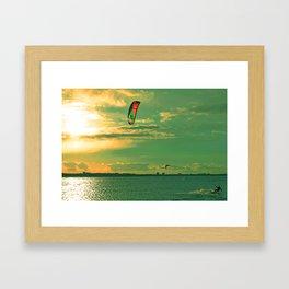 Kiting in cold water in April Framed Art Print