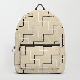 Geometrical black white ivory modern chevron Backpack