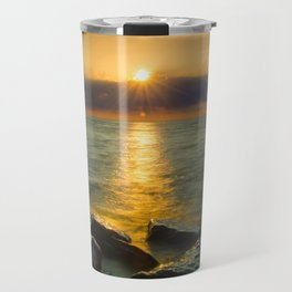 Coastal Landscape Photograph Sun Ray on the Water Beach Art Travel Mug