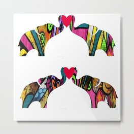 Groovy Elephant Love Metal Print