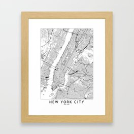 New York City White Map Gerahmter Kunstdruck