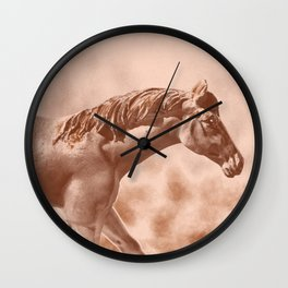 Horse Running Through an Old Picture Wall Clock