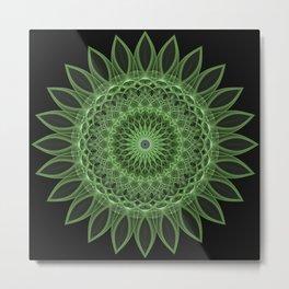 Green floral mandala Metal Print