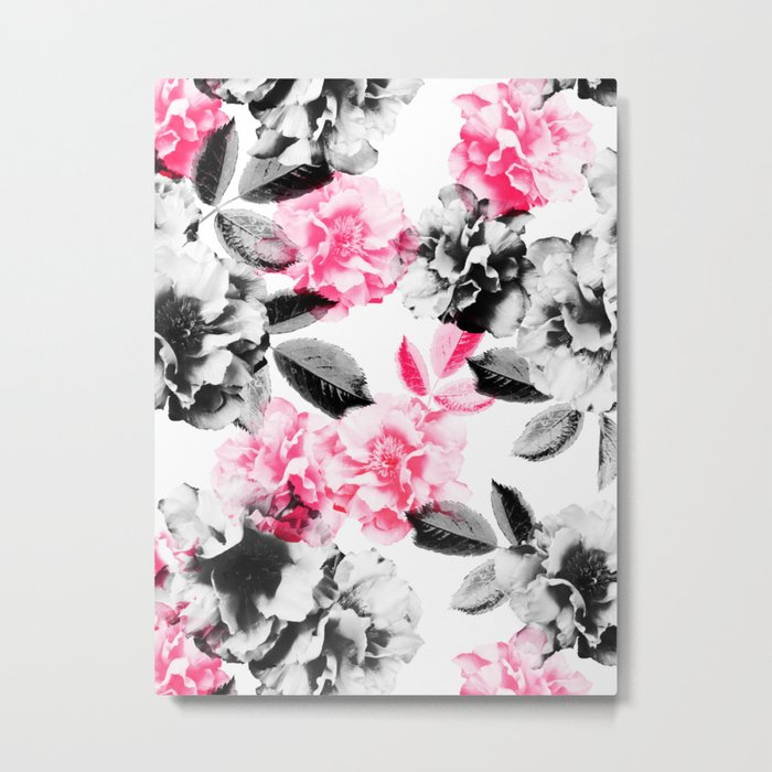 Rose Garden in Pink and Gray Metal Print