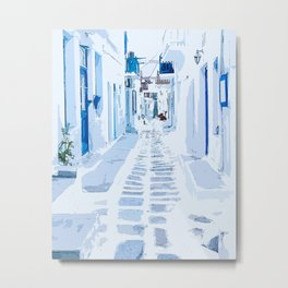 MyKonos Greece Watercolor Digital Painting Metal Print