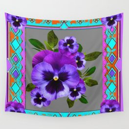 WESTERN GREY-TURQUOISE STYLE  PURPLE SPRING PANSIES Wall Tapestry