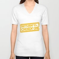 lebron V-neck T-shirts featuring Return of the Chosen One by JohnLucke