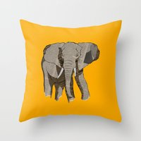 newspaper Throw Pillows featuring Newspaper Elephant by Doolin
