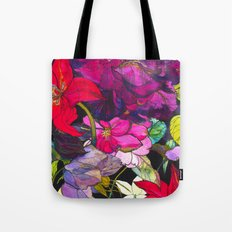 Black Parrot Tulips Tote Bag
