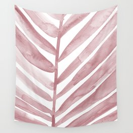 Pink Palm Leaf Crop Wall Tapestry