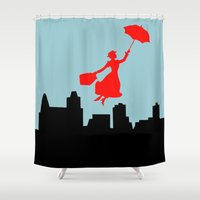 mary poppins Shower Curtains featuring Mary Poppins  by Sammycrafts