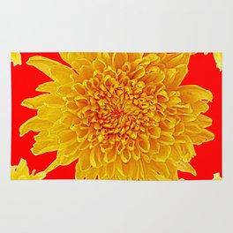 Golden Yellow Chrysanthemums Red Art Design Rug