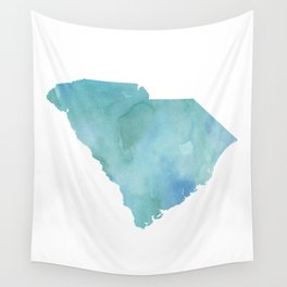 Watercolor State Map - South Carolina SC blue greens Wall Tapestry