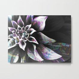 Fluid Nature - Marbled Flower Metal Print