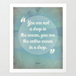 Rumi Ocean Drop Art Print
