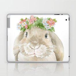 Lop Rabbit Floral Wreath Watercolor Painting Laptop & iPad Skin