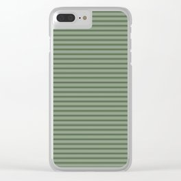 Small Dark Forest Green Mattress Ticking Bed Stripes Clear iPhone Case