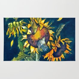 Sunflowers and birds Rug