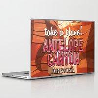 travel poster Laptop & iPad Skins featuring Antelope Canyon Arizona travel poster by Nick's Emporium Gallery