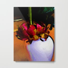 Still Life with a Dying Flower of Red and Green Metal Print
