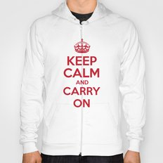 keep Calm and Carry On - Red/White Book Hoody