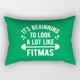 It's Beginning To Look A Lot Like Fitmas (Funny Christmas Gym Pun) Rectangular Pillow