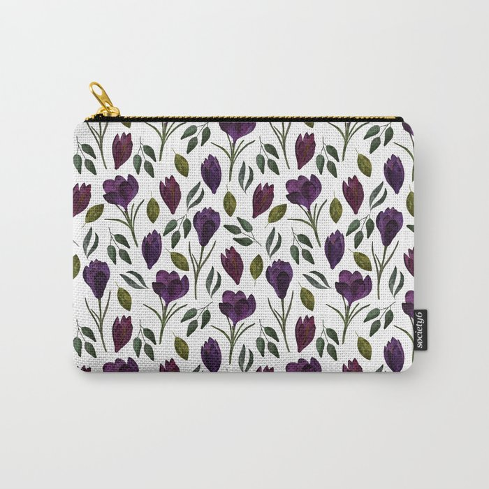 Plum Rose Garden carry all pouch by Selene Hayes