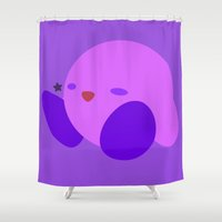 kirby Shower Curtains featuring Kirby(Smash)Purple by ejgomez