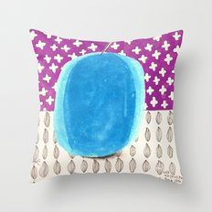 Almond and Blue Apple Throw Pillow
