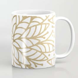 Elegant white faux gold floral trendy mandala Coffee Mug