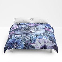 Cat In Flowers. Winter Comforters