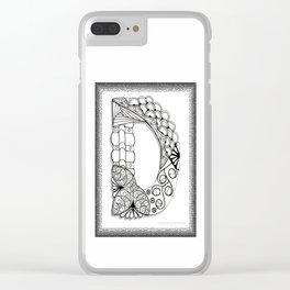 Zentangle D Monogram Alphabet Illustration Clear iPhone Case