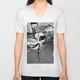 Cartoon erotic, abducted girl tied to chair, mouth taped, sexy slave Unisex V-Neck