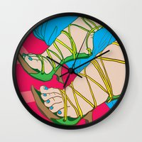 feet Wall Clocks featuring Feet by Mauro Squiz Daviddi