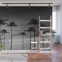 Black & White Palm Trees Photography   Landscape   Sunset    Clouds   Minimalism Wall Mural