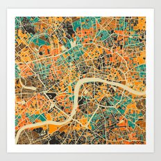 London Mosaic Map #3 Art Print