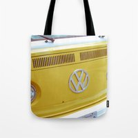 vw bus Tote Bags featuring Yellow VW Volkswagen Bus Van by Majokko Tay