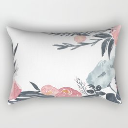 Navy Blush Floral Watercolor Rectangular Pillow