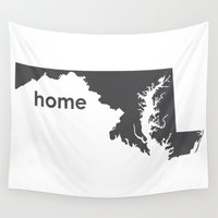 maryland Wall Tapestries featuring Home: Maryland by LEIGH ANNE BRADER