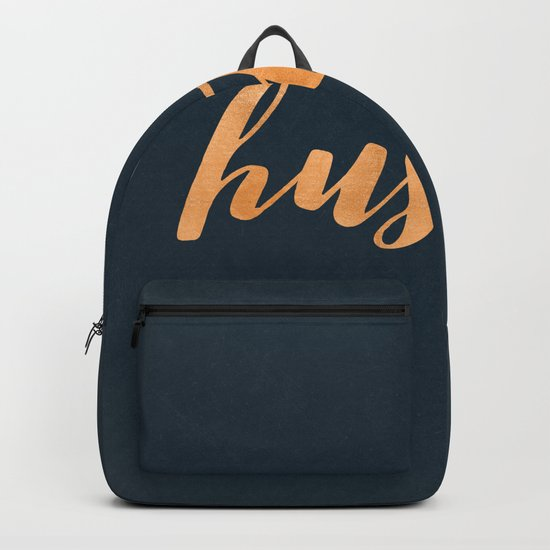 Hustle Text Copper Bronze Gold and Navy Backpack