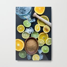 Lemon And Ice Metal Print