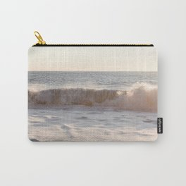 Waves Rolling At Sunset Photo Print | Pastel Seascape Ocean Art | Iceland Nature Travel Photography Carry-All Pouch