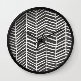 Herringbone – Black & White Wall Clock